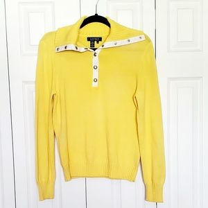 Lauren Ralph Lauren Yellow Snap Sweater